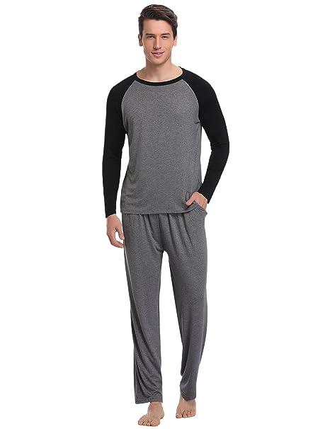 Aibrou Pijamas Hombre 100% Modal Mangas Pantalones Largos,Mas Suave,Cómodo,Ligero