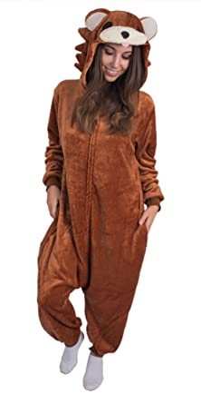 64a772faa Amazon.com: Adult Onesie Brown Bear Animal Pajamas Comfortable Costume with  Zipper and Pockets: Clothing