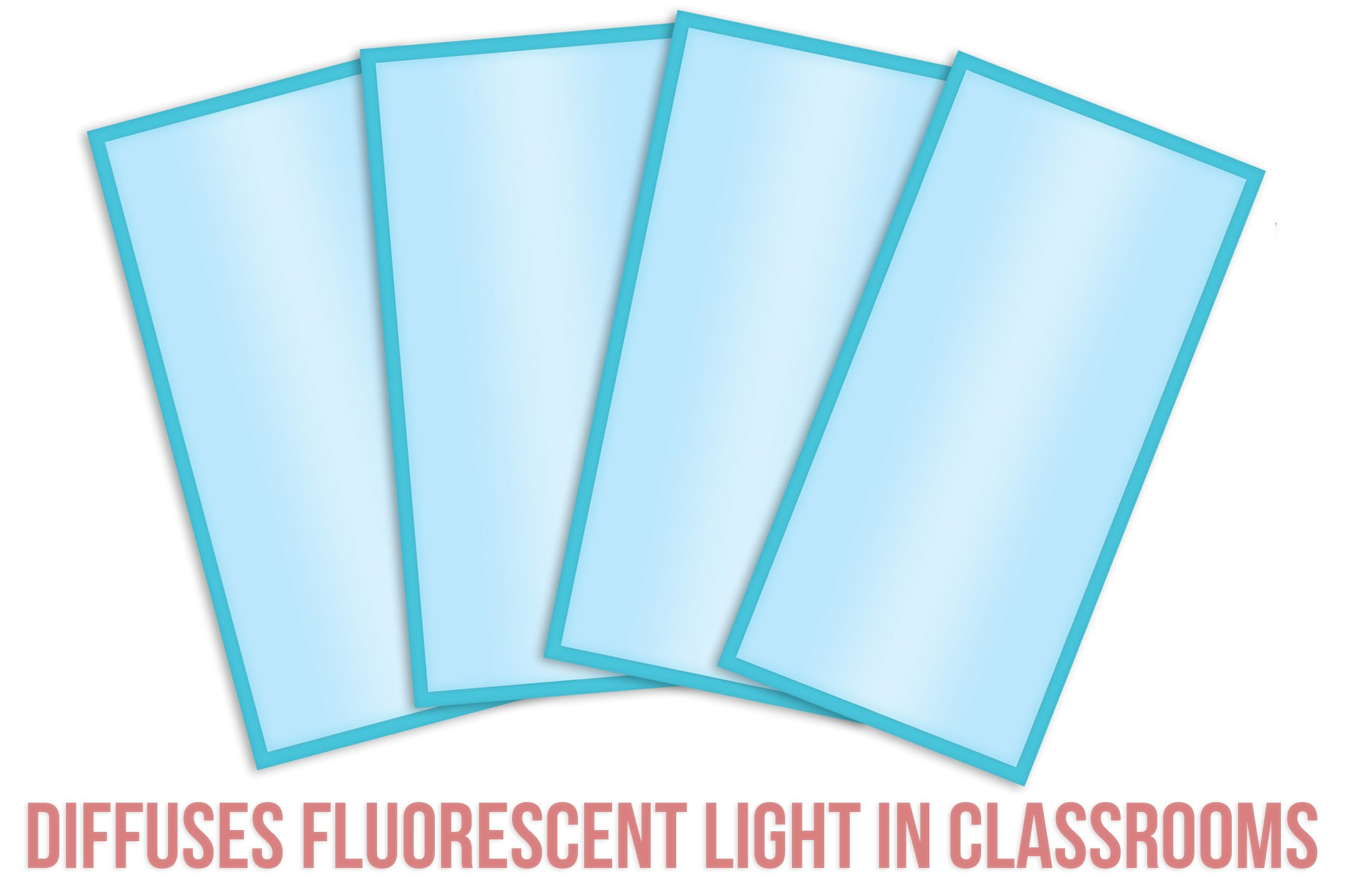 Fluorescent Light Covers Cozy Shades - Softening Light Filter, Light Diffuser for Game Room, Classroom, Office, Kids Bedrooms, or Hospital Room 48 x 24 inches - Set of 4 - Tranquil Sky Blue by Posh Peanut (Image #3)