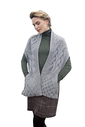 27d7188a3113 Image Unavailable. Image not available for. Color  Aran Woollen Mills  Supersoft Irish Merino Wool Cable Knit Stole Sweater ...