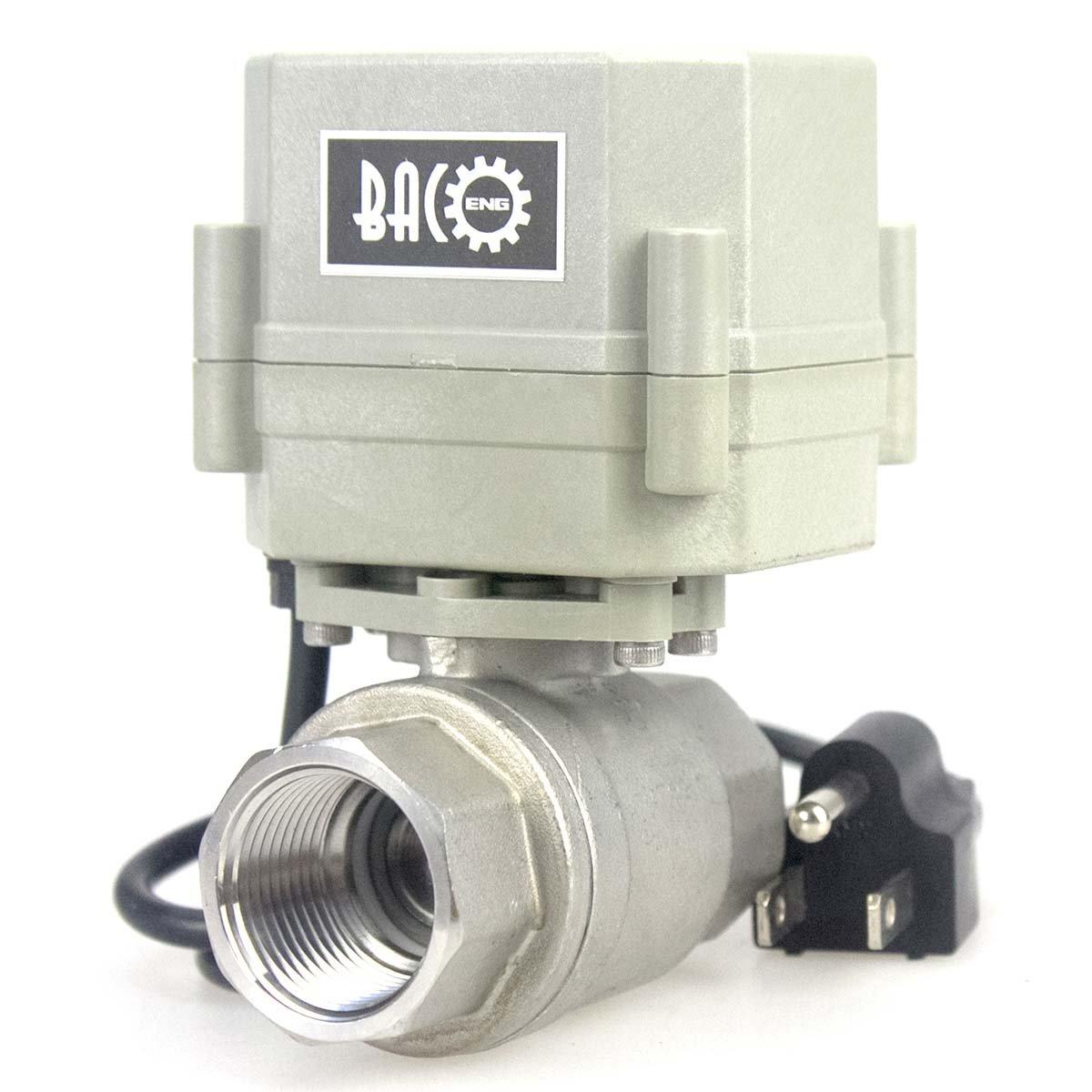 BACOENG 3/4'' 110V/220V NC Motorized Ball Valve, NO/NC 2/3 Way BRASS/SS 1/2''-1'' Available