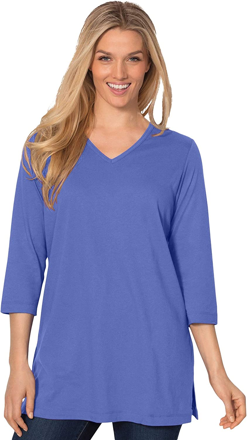 Woman Within Womens Plus Size Perfect V-Neck Three-Quarter Sleeve Tunic