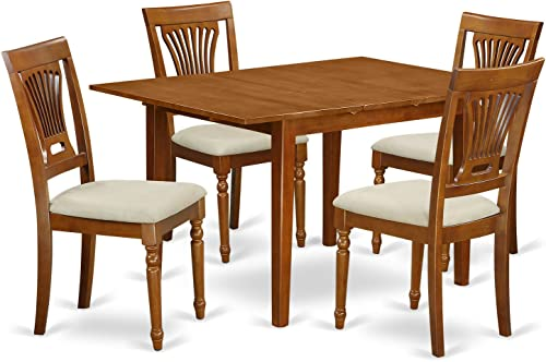 MLPL5-SBR-C 5 Pc small Kitchen Table set-small Dining Tables and 4 Kitchen Chairs