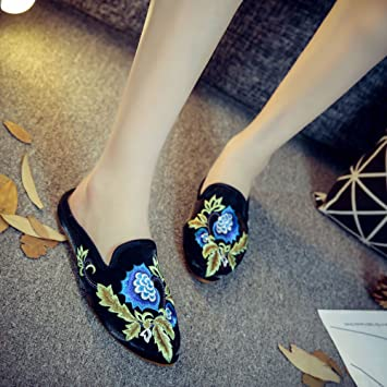 KathShop Women Slippers Pointed Toe Floral Embroidered Summer Sandal Comfort Slip-on Satin Flat Shoes