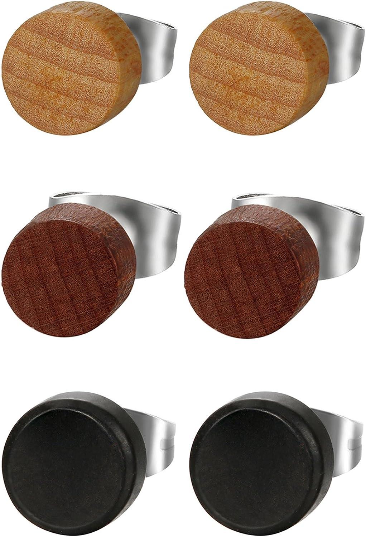 Cupimatch 3 Pairs Wood Stud Earrings for Men, Unisex Round Pierced Earrings Set 8mm