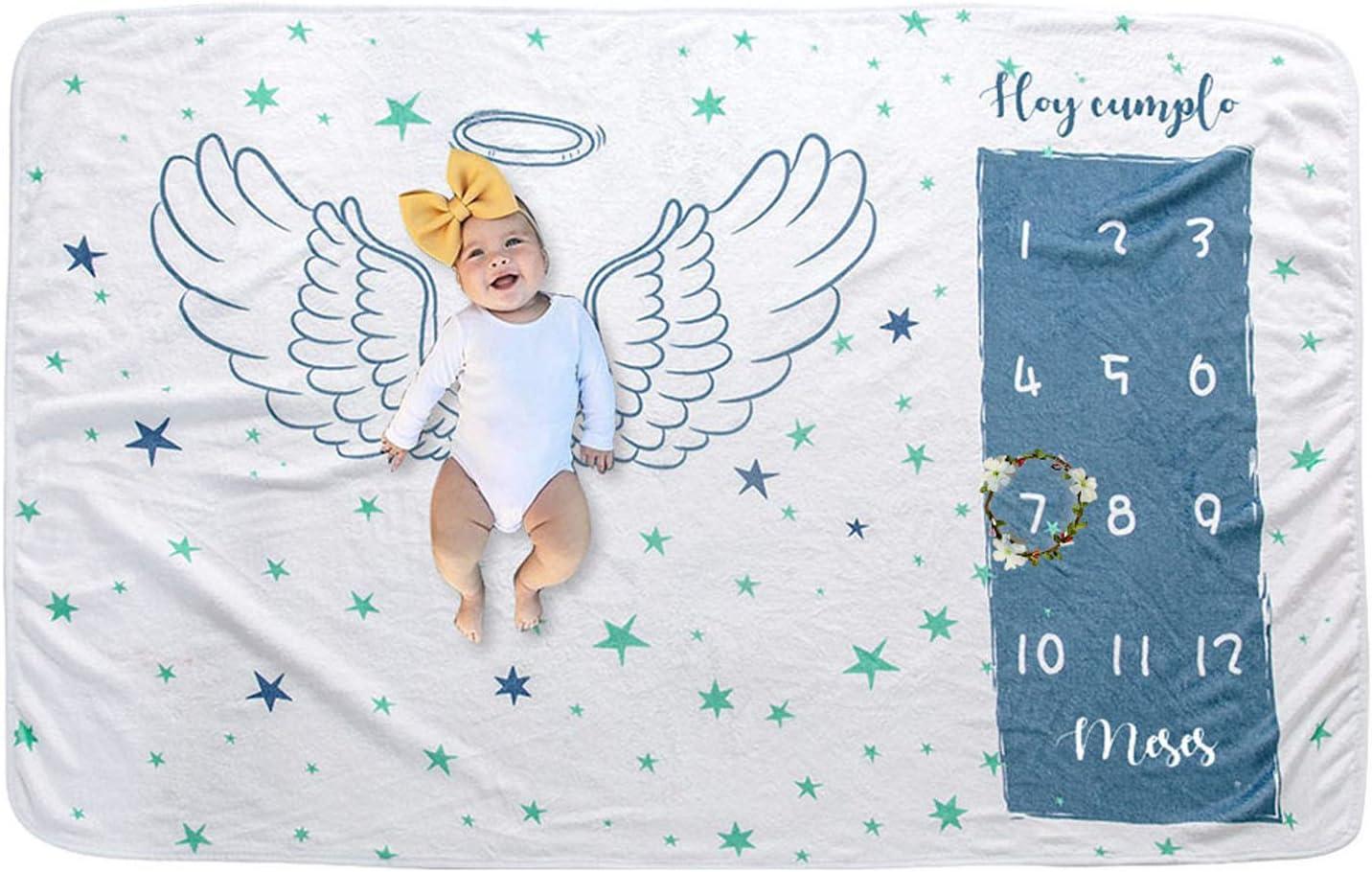 Bebé Manta Mensual Hito Franela Manta Mensual De Hito Para Bebé Manta Mensual De Bebé Para Fotos Regalos Personalizados Para Futuras Mamás para Bebé Recién Nacido (Wing 100 * 150cm)