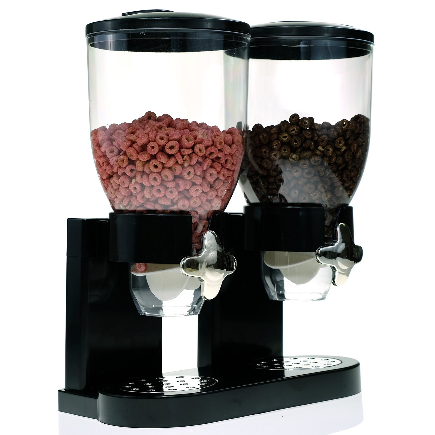 Modern Dry Food Dispenser with Dual Portion Control - Black & Chrome or White & Chrome Available (Dual Dispenser, Black)