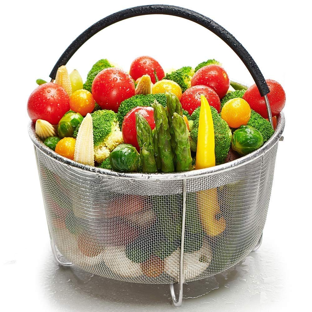 Steamer Basket for Instant Pot 6 Qt & 8 Qt, Stainless Steel Mesh Strainer Steamer Insert with Black Silicone Handle, Must have Kitchen Accessories for Steaming Vegetables, Fruit and Eggs. (6 Quart)