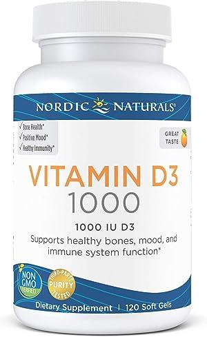 Nordic Naturals Vitamin D3 1000, Orange - 1000 IU Vitamin D3 - 120 Mini Soft Gels - Supports Healthy Bones, Mood & Immune System Function - Non-GMO - 120 Servings