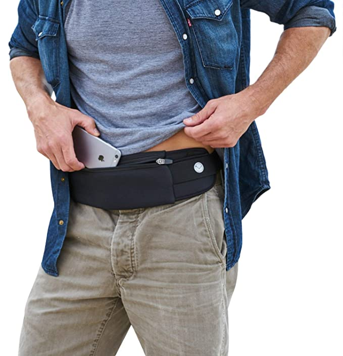 Mind and Body Experts Orion Travel Belt - Hands-Free Way to Carry Your Phone, Money, Passport - Waist Pack for Hiking, Traveling, Running, Walking - Adjustable Water Resistant Fanny Pack (Black) best travel belts