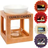Yankee Candle Wax Melt Burner Rustic Modern Terracotta Effect Surround Ceramic Bowl Plus FOUR WAX TARTS 10.5cm Decorative Tea Light Operated Indoor Scented Candle Wax Oil Warmer & Holder Orange/White
