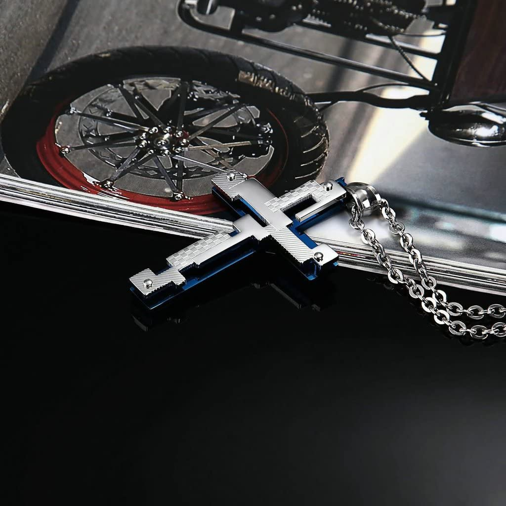 AnaZoz Collier Homme Femme Acier Inoxydable Classique Croix G/éom/étrie Charm Pendentif Colliers Homme