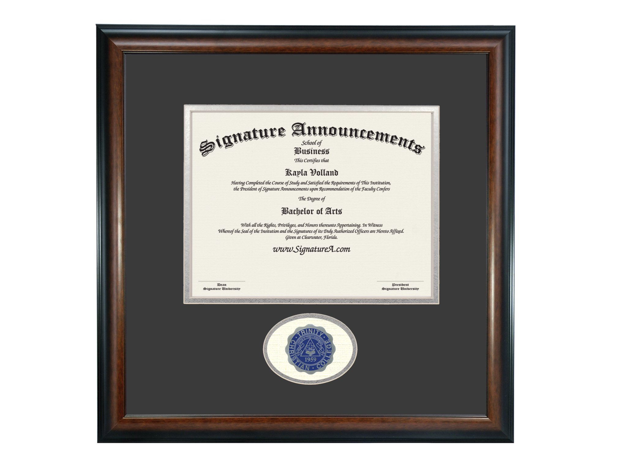 Signature Announcements Trinity Christian College Undergraduate Sculpted Foil Seal Graduation Diploma Frame, 16'' x 16'', Matte Mahogany