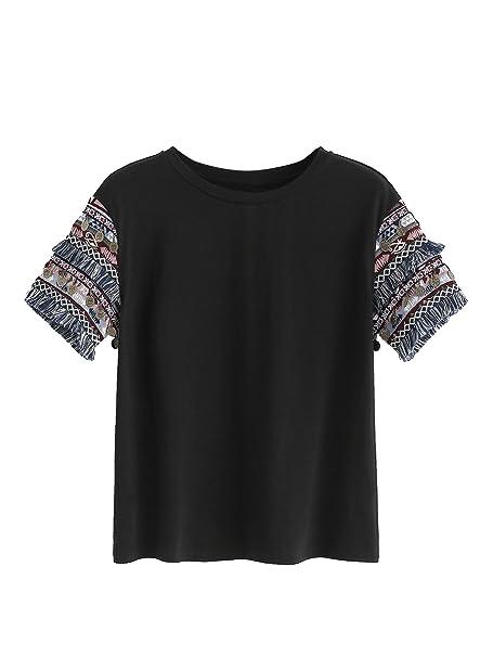 124aadcb21c56f Floerns Women s Fringe Short Sleeve Cute Casual T-Shirt Tops Black XS