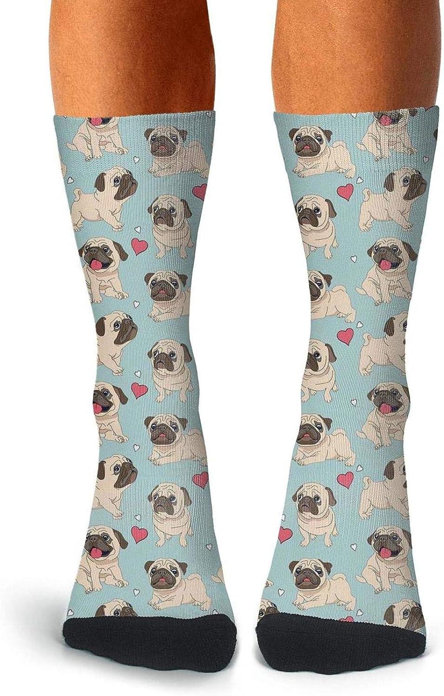 Men Pug Princess and Heart Socks Personality Crew Knee High Socks