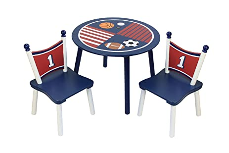 Sports Painted Wood Kid Table and Chair Set  sc 1 st  Amazon.com & Amazon.com: Sports Painted Wood Kid Table and Chair Set: Home u0026 Kitchen
