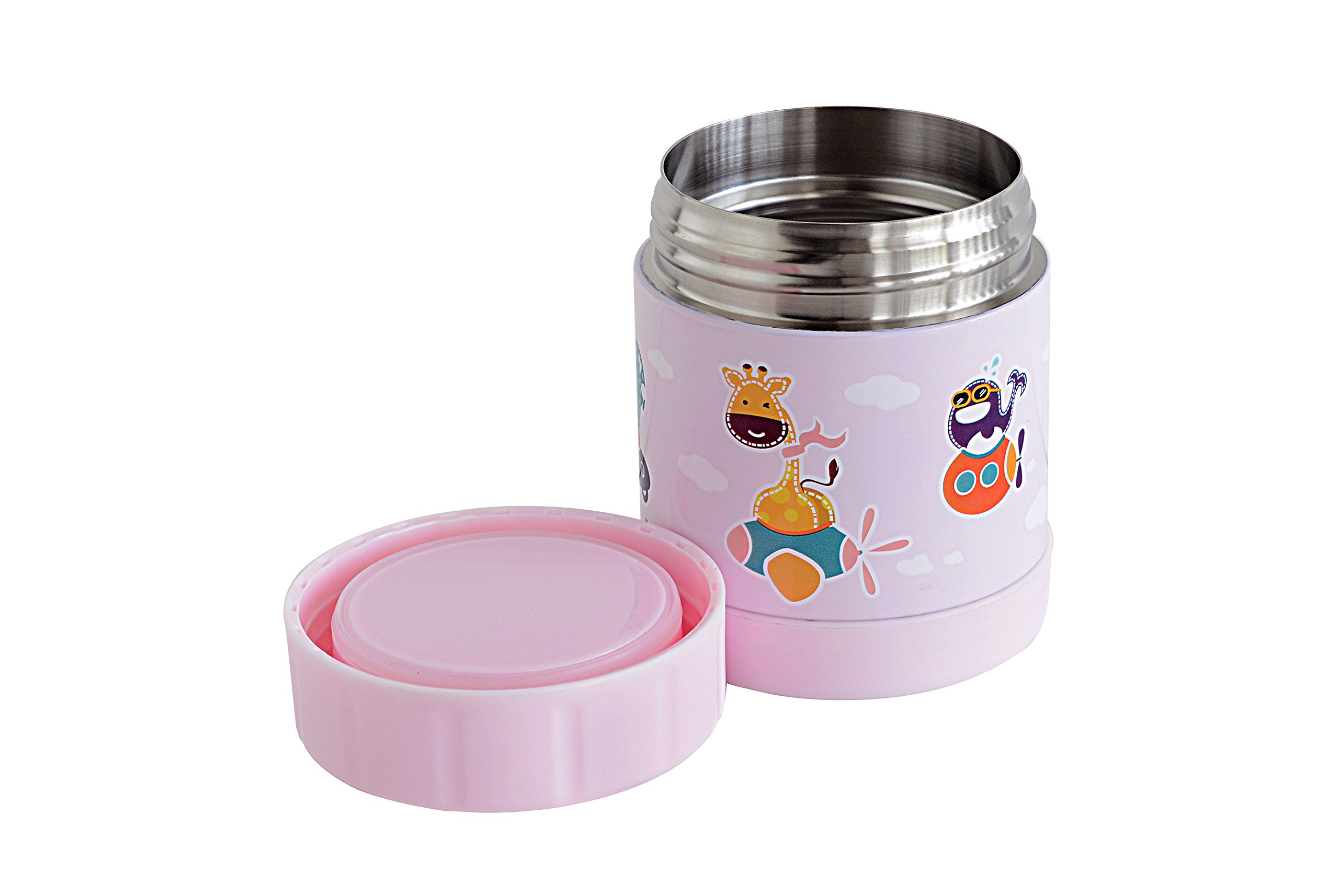 Marcus & Marcus Animal Themed Kids Stainless Steel Thermal Container - Pink