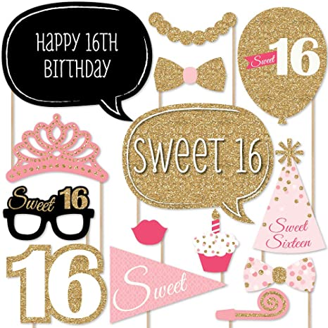 014630351a1 Amazon.com  Big Dot of Happiness Sweet 16 Birthday - Photo Booth Props Kit  - 20 Count  Toys   Games
