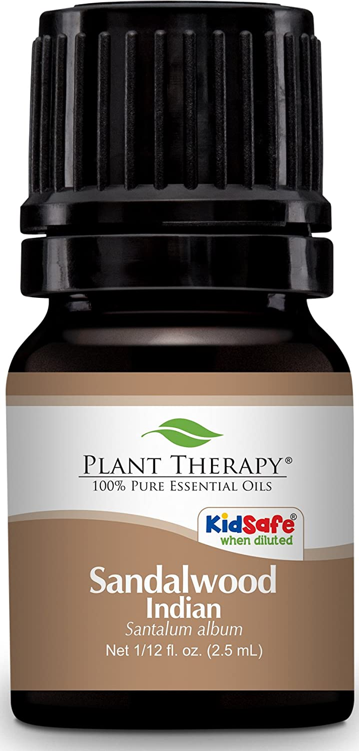 Plant Therapy Sandalwood Indian Essential Oil 2.5 mL (1/12 oz) 100% Pure, Undiluted, Therapeutic Grade
