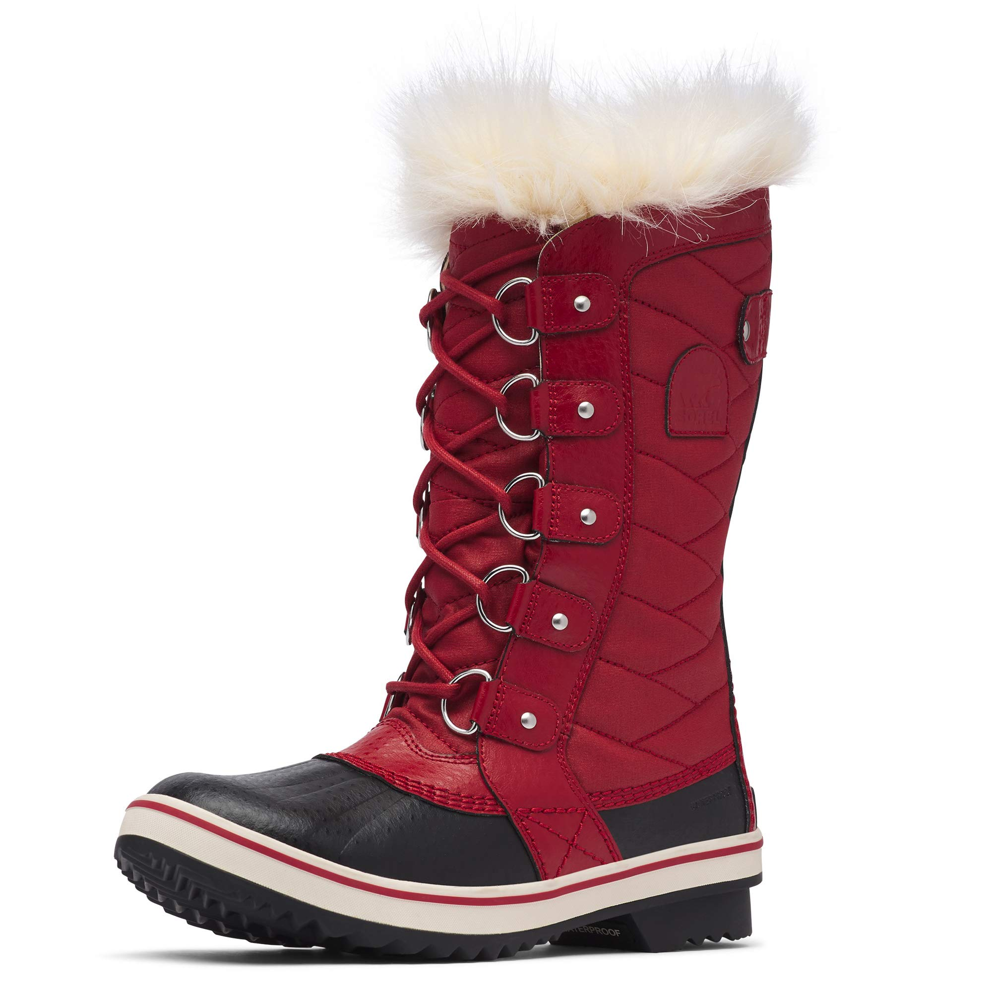 Sorel - Women's Tofino II Waterproof Insulated Winter Boot with Faux Fur Cuff, Red Dahlia, 8 M US by Sorel