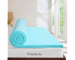 Nelaukoko 3 Inch Memory Foam Mattress Topper Queen Ventilated Gel Foam Mattress Pad, Bed Topper Queen Size