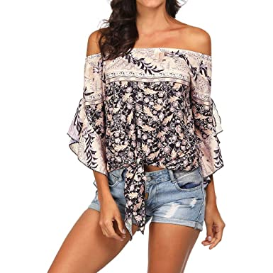 691f7ac17829 WUAI Womens Summer Tops Casual Bohemia Off Shoulder Long Sleeve Floral Shirts  Ladies Tops and Blouses