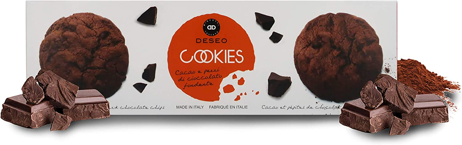 Deseo 11 Packs of Artisan Cocoa and Dark Chocolate Chip Cookies, Italian Chocolate Biscuits - 11 x 160g / 5.5oz