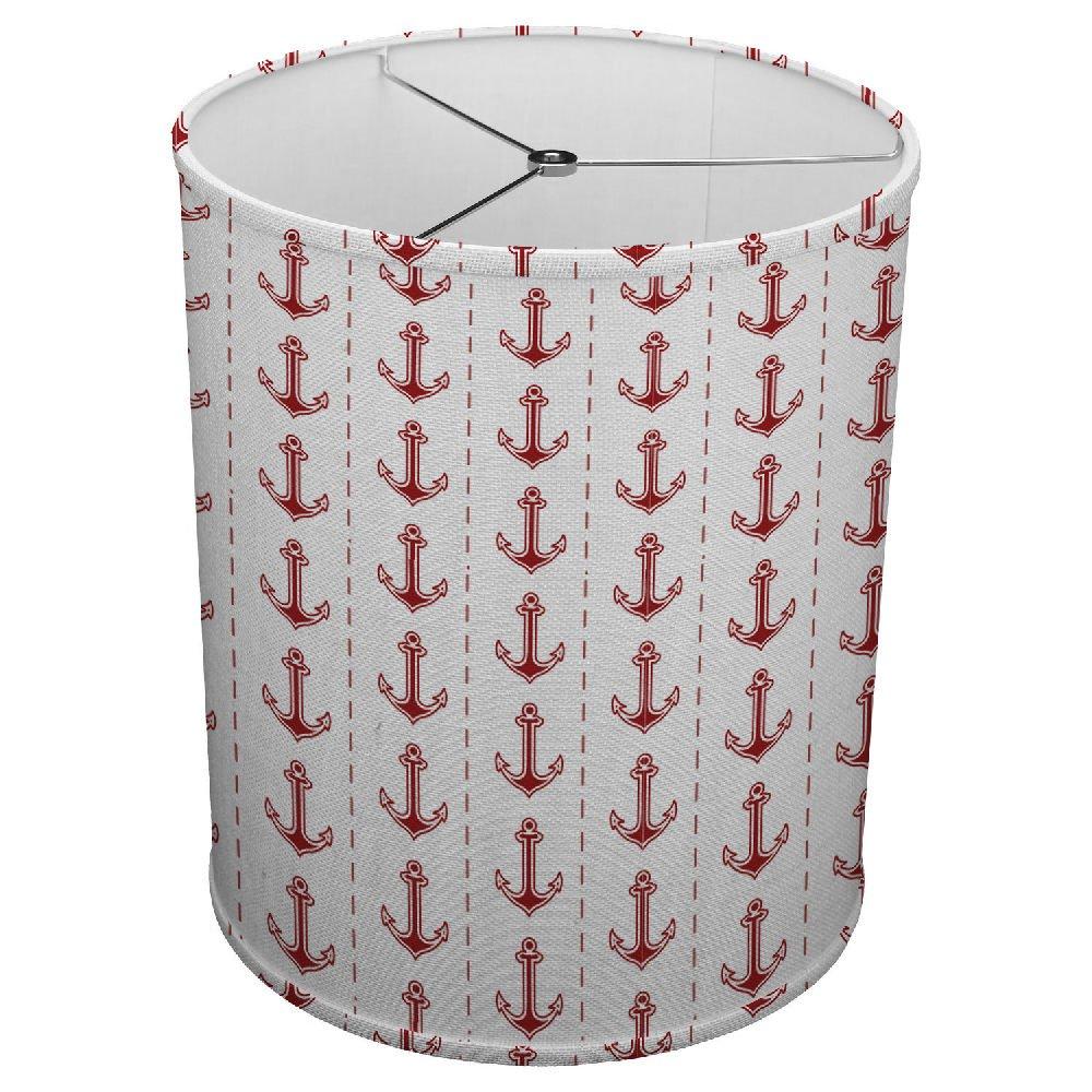 Hardback Linen Drum Cylinder Lamp Shade 8'' x 8'' x 8'' Spider Construction [ Red Love Anchor ]