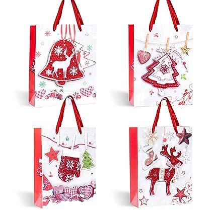 Bolsas para Regalo Navidad, 12 Bolsas de Papel con Asa, 4 ...