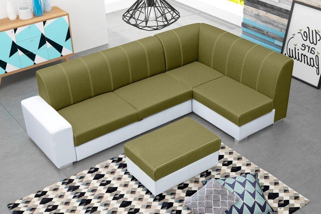 eckcouch mit schlaffunktion und bettkasten inkl hocker. Black Bedroom Furniture Sets. Home Design Ideas