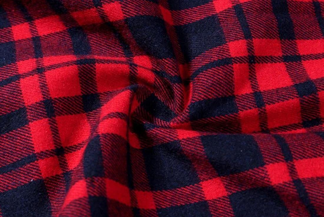 Mens Fall Winter Plaid Long Sleeve Slim Fit Longline Button Down Shirts