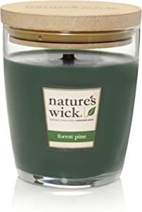 Nature's Wick Forest Pine Scented Candle|10 oz. Jarred Candle|Natural Wood Wick Candle with up to 65 Hour Burn Time
