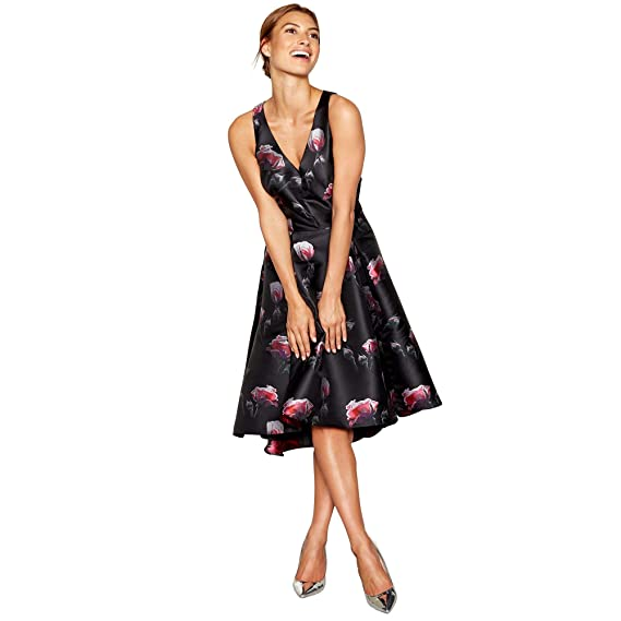 Debut Womens Black Floral Jacquard Sleeveless High Low Prom Dress 8: Debut: Amazon.co.uk: Clothing