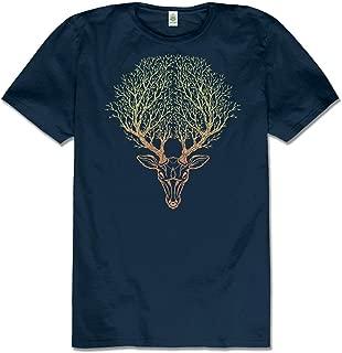 product image for Men's Deer Spirit Hemp Short Sleeve T-Shirt - Navy Blue Crew Neck Tee for Men and Women by Soul Flower