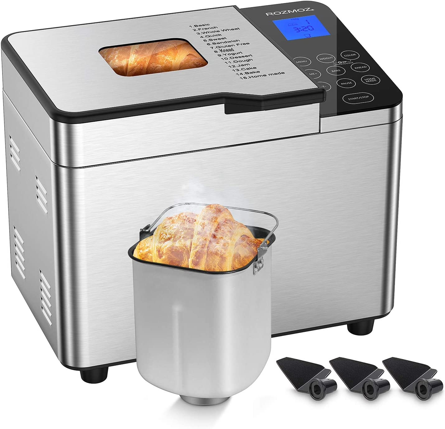 Rozmoz Pro Bread Machine with Homemade Function, Stainless Steel Bread Maker 15-in-1 2LB XL Digital Breadmaker with Child Lock, 3 Crust Colors 3 Loaf Sizes, 8 Deluxe Accessory kits