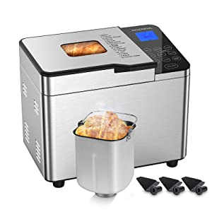 Rozmoz Bread Machine with Homemade Function, Stainless Steel Bread Maker 15-in-1