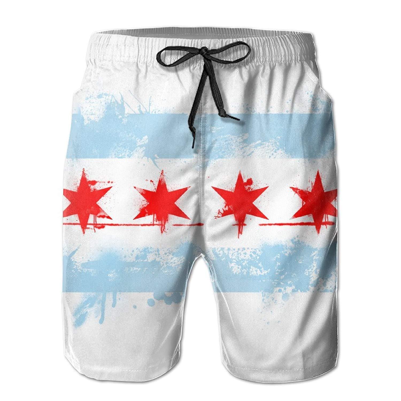 YUEJIQG Mens Chicago City Flag USA America Summer Breathable Swim Trunks Beach Shorts Cargo Shorts