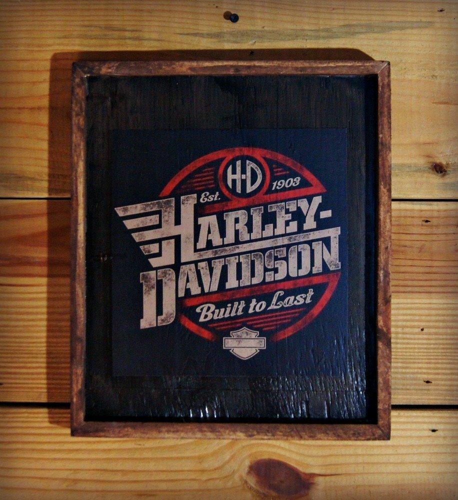 Framed Harley Davidson Wooden Sign