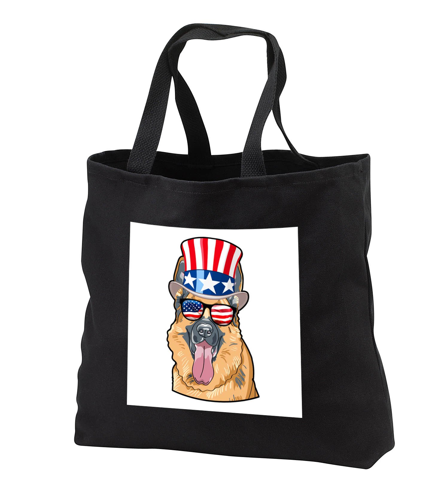 Patriotic American Dogs - German Shepherd Dog With American Flag Sunglasses and Top hat - Tote Bags - Black Tote Bag JUMBO 20w x 15h x 5d (tb_282708_3) by 3dRose