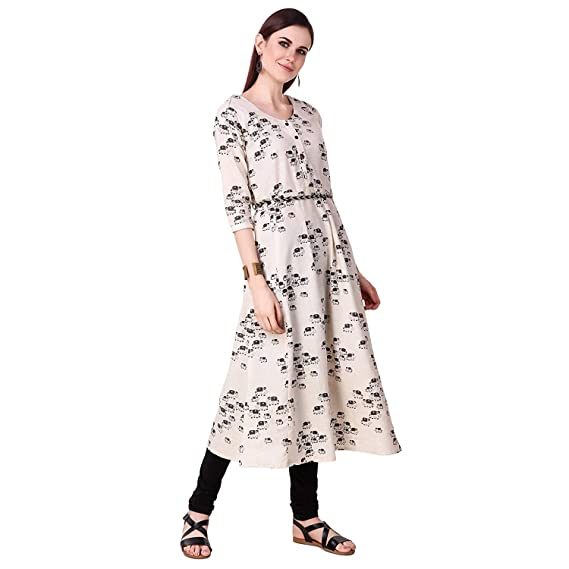 Tresole India Kurti For Women and Girls Casual Summer wear Off-White
