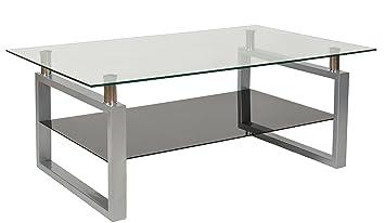 Ts Ideen Design Hartglas Wohnzimmer Couch Glastisch Glas Beistell Tisch Edelstahl Hochglanz Ablage Schwarz