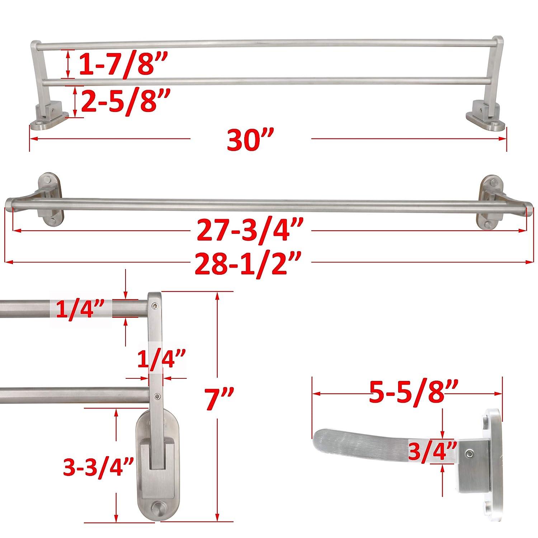 LUANT 24 Inch Bathroom Shelf 3-Tier Wall Mounting Rack with Towel Bars