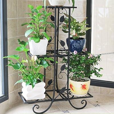 LRW European Style Multifunctional Iron Art Flower Stand Floor Balcony Indoor and Outdoor Living Room Decorative Plant Rack: Garden & Outdoor