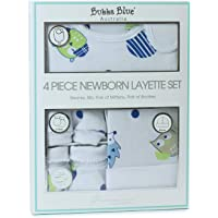 Bubba Blue Baby Boy Owl 4 Piece Newborn Layette Set, Blue, White, 4 Count