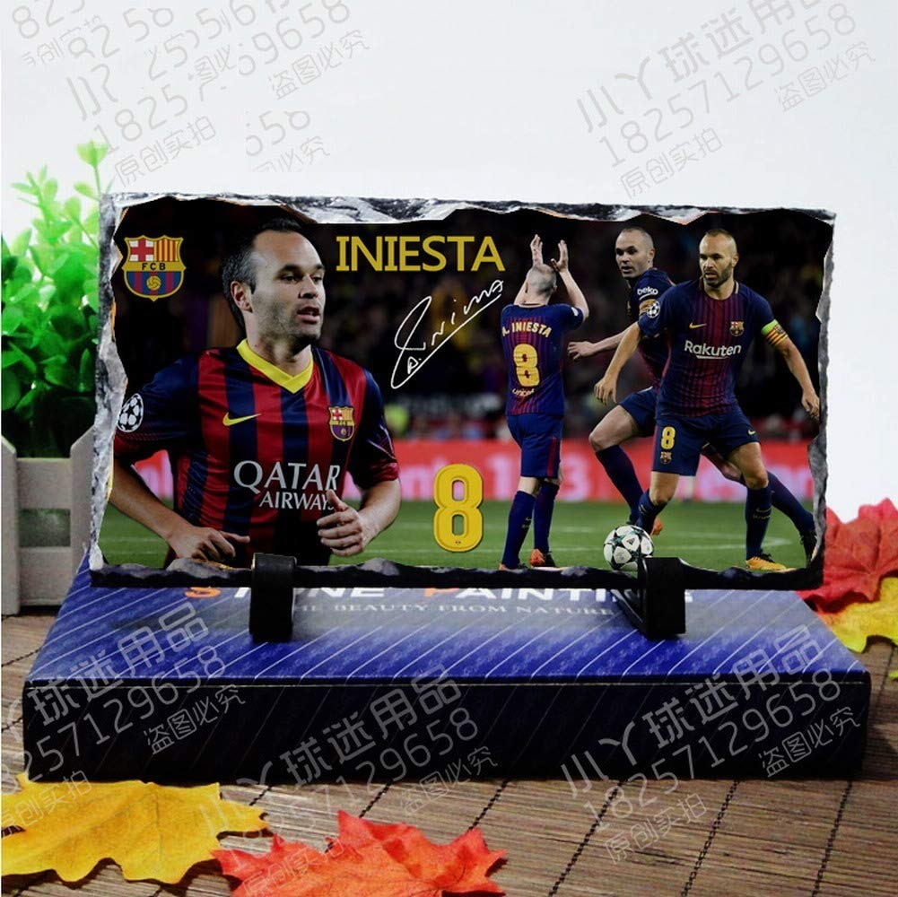 World Cup Football Teams Football Superstar Football Fans Natural Rock Inkjet Ornaments for Football Fans to Commemorate, Home Decoration, White Memorial, 22  12  0.7cm