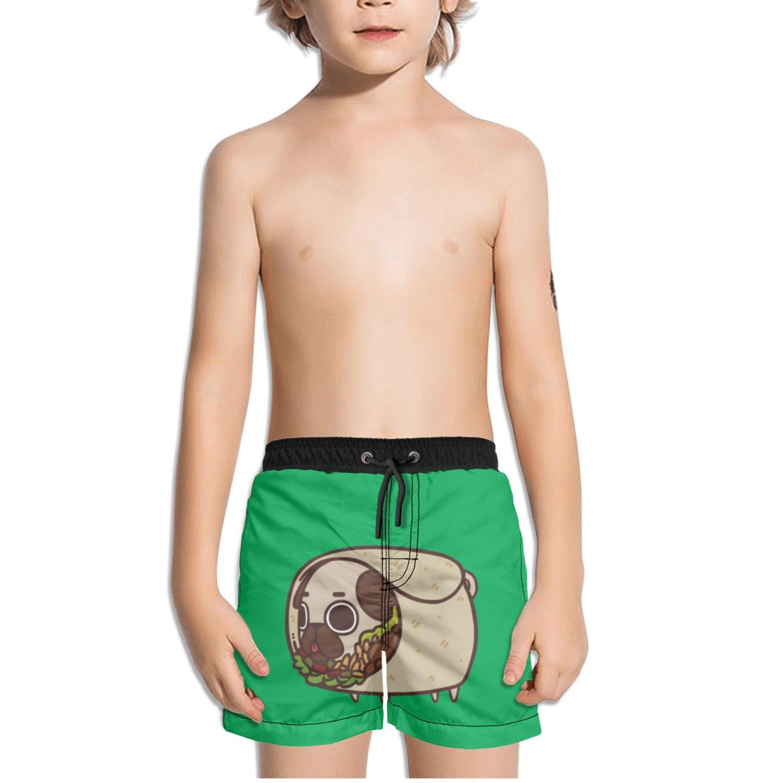 Juliuse Marthar Pug Gifts Burritos Print Green Swim Trunks Quick Dry Beach Board Shorts for Boys