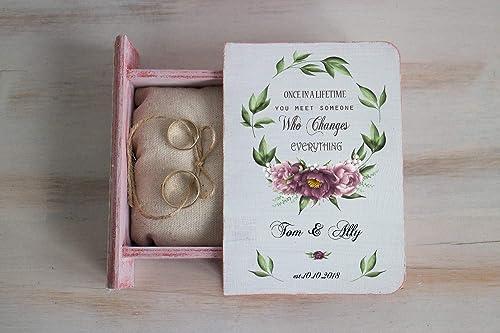 wedding ring box personalized box Wedding box bunch of flowers ring bearer box Wreath wedding ring box custom ring holder ring holder