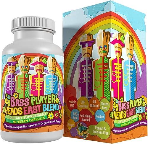 Ashwagandha Capsules – Organic Powder Ashwagandha Root with Black Pepper 1950 mg – Bass Player Heads East Blend