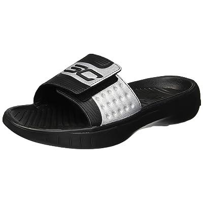 Amazon.com : Under Armour Men's UA M Curry IV SL Sandal Black-Black-Black : Shoes