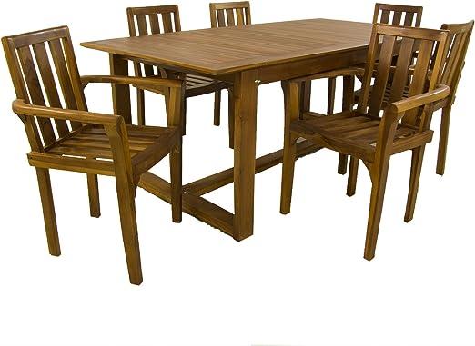 Edenjardi Conjunto Muebles Teca, Mesa de 240 cm de Largo y 6 ...